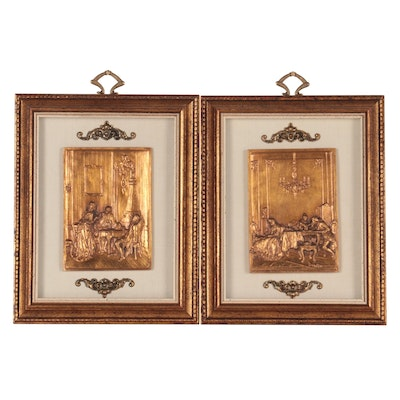 Painted  Stone Relief Reproductions of Classical Art Scenes, Late 20th Century