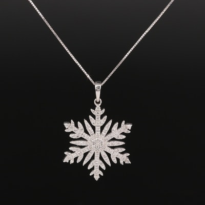 14K Diamond Snowflake Pendant Necklace