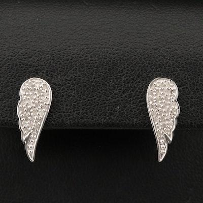 Sterling Silver Diamond Angel Wing Earrings