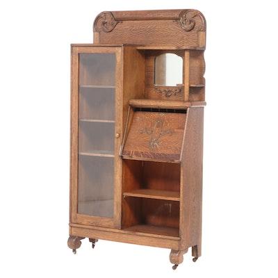 Late Victorian Carved & Quartersawn Oak Side-by-Side Secretary Bookcase, c. 1900