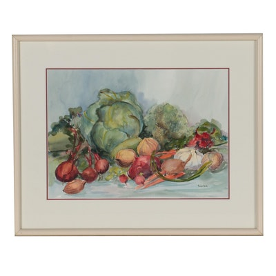 Ingrid Hofer Still Life Watercolor Painting of Vegetables