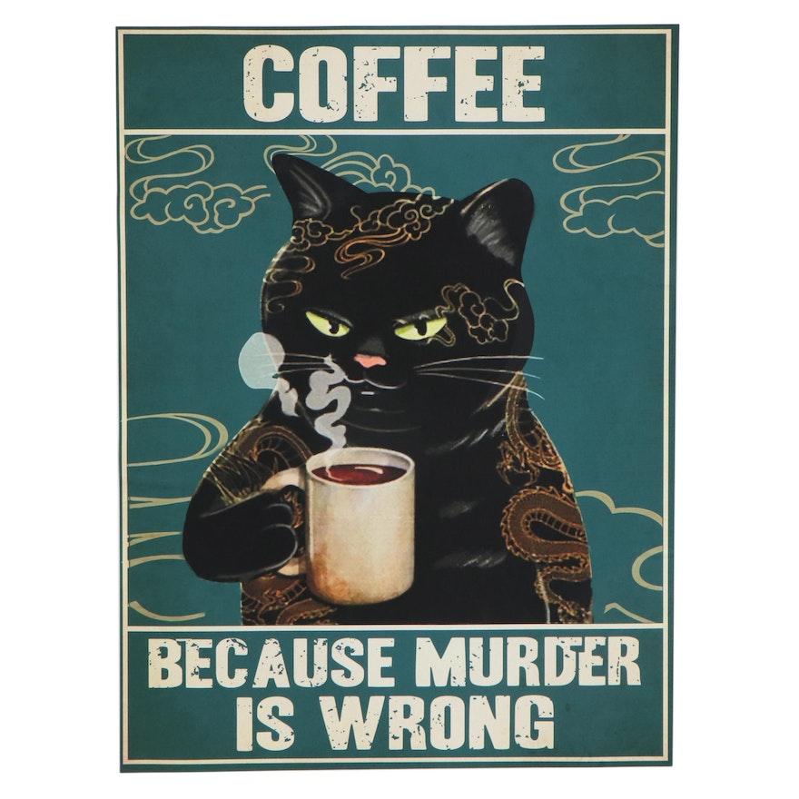 Giclée of Black Cat Drinking Coffee, 21st Century