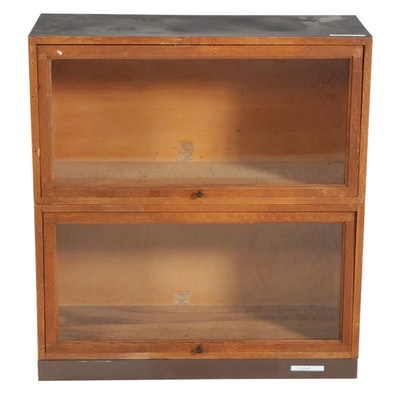 Globe-Wernicke Two-Stack Oak Barrister's Bookcase, Mid-20th Century