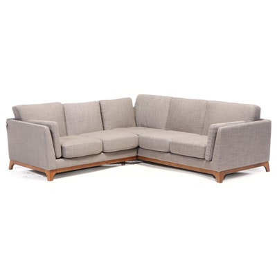 """Two-Piece Article """"Ceni"""" Upholstered Hardwood Sectional Sofa in Pyrite Gray"""