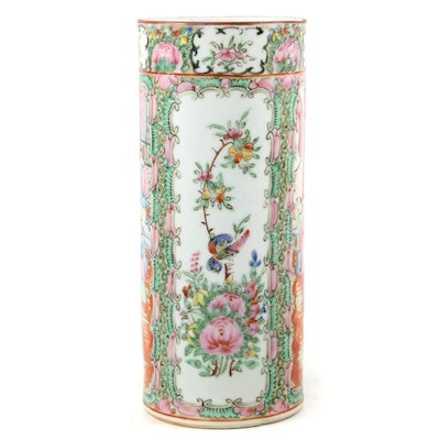 Chinese Rose Medallion Porcelain Hat Stand