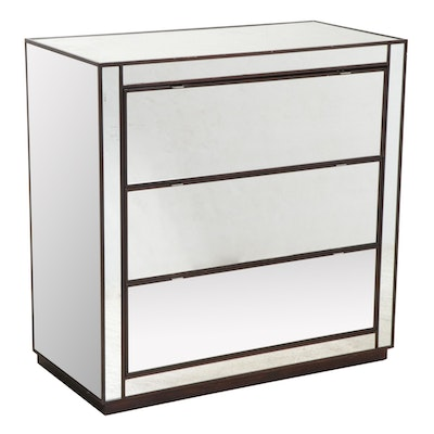 Robb & Stucky Modernist Style Ebonized and Mirrored Three-Drawer Chest