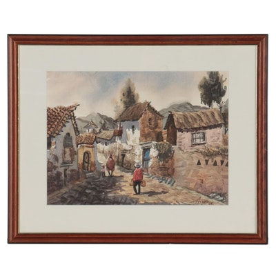 Peruvian Street Scene Watercolor Painting, 1988