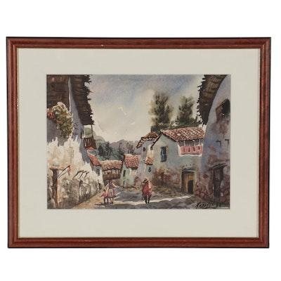 Peruvian Village Scene Watercolor Painting, 1988