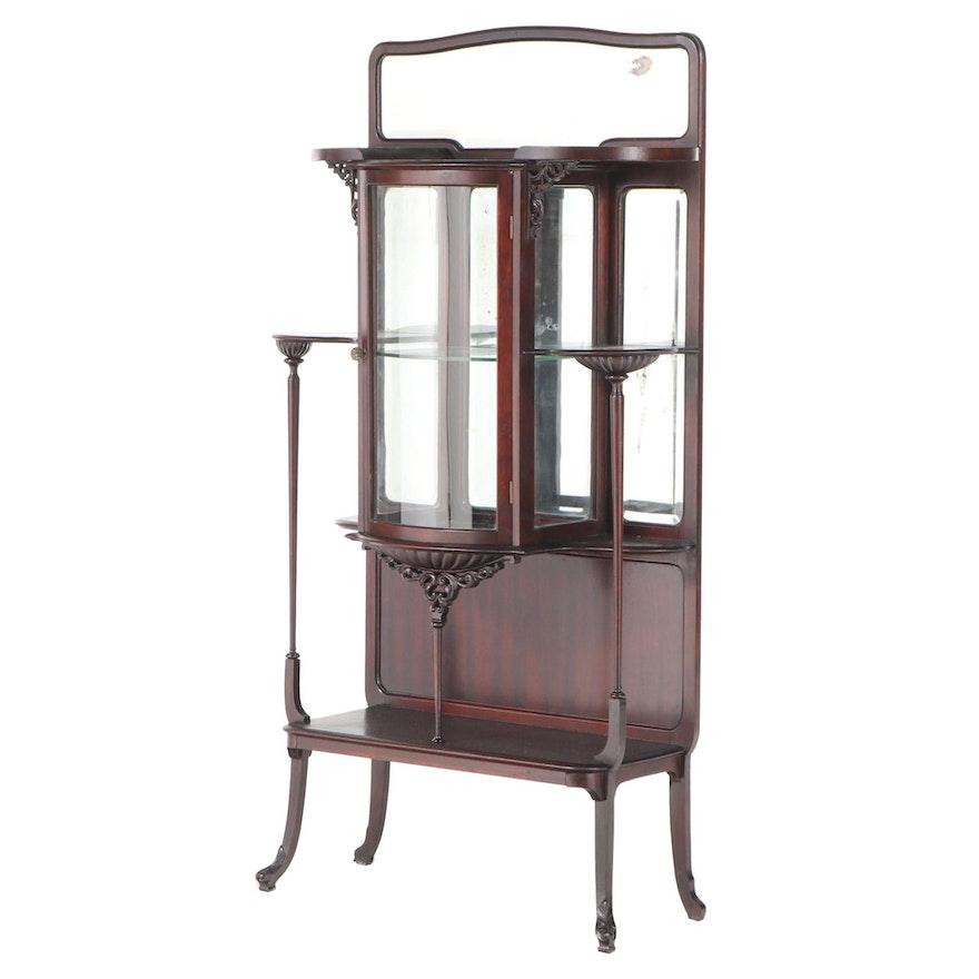 Art Nouveau Mahogany Mirror-Back Étagère, circa 1900