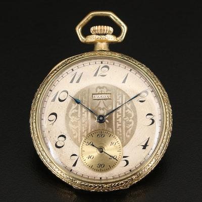 1921 Elgin 14K Gold Filled Open Face Pocket Watch