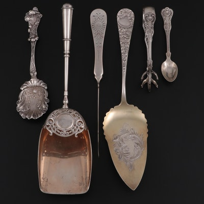 Wendell Chased Sterling Silver Pie Server and Other Serving Utensils