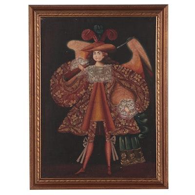 Cuzco School Style Archangel Oil Painting, 20th Century