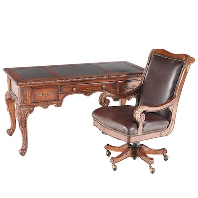 Louis XV Style Hardwood Writing Table and Desk Chair, Including Bradington-Young