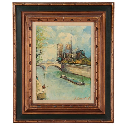 Seine Riverscape Oil Painting, Mid-20th Century