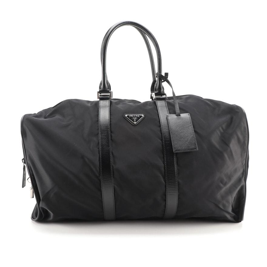 Prada Weekender Bag in Black Tessuto Nylon and Saffiano Leather