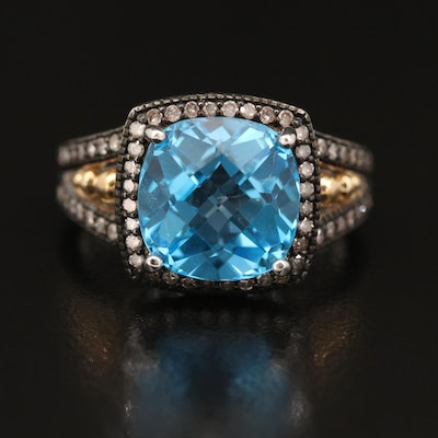 Sterling Silver Topaz and Diamond Halo Ring with 10K Accent