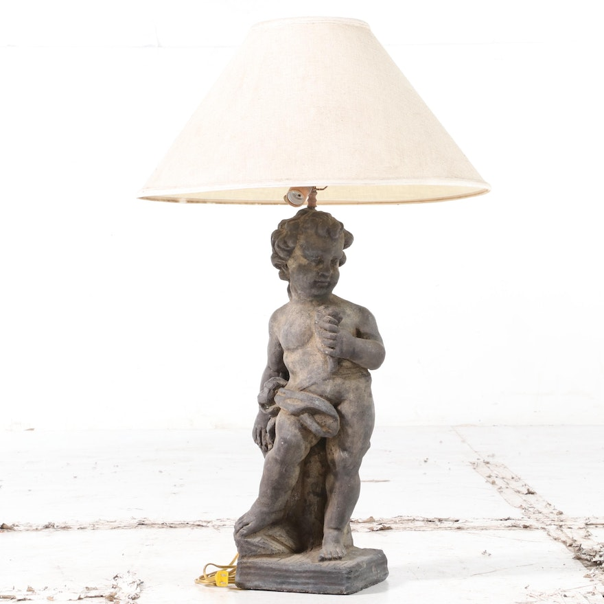 Classical Style Painted and Cast Concrete Putto Table Lamp, 20th Century