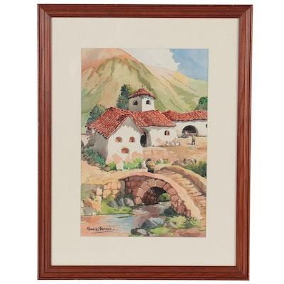 Manuel Morales Guzmán Village Scene Watercolor Painting