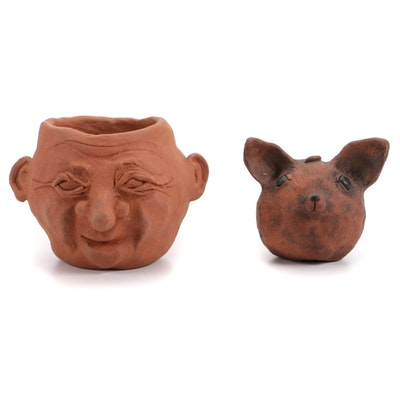 Kristin Morris Ceramic Sculptures of Face and Mouse, 21st Century