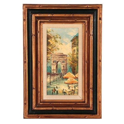 Paris Cityscape Oil Painting, Late 20th Century
