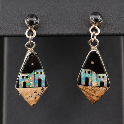 Southwestern Style Sterling Silver Earrings with Gemstone Inlay