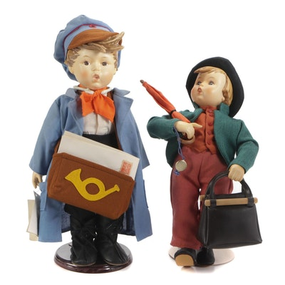 "Goebel ""Merry Wanderer"" and ""Postman"" Porcelain Dolls, Late 20th-Century"