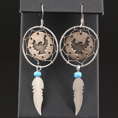 Sterling Dreamcatcher Earrings with Faux Turquoise Feather Drops