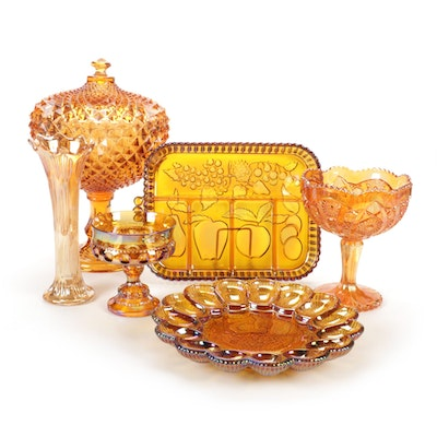 """Westmoreland """"Diamond Point"""" Candy Dish with Other Amber Glass Tableware"""
