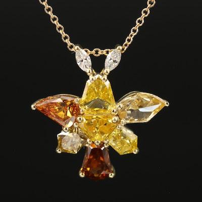 18K 3.57 CTW Diamond Pendant Necklace with GIA Report