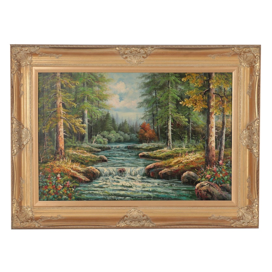 Landscape Oil Painting of Forest Riverbank, Circa 2000