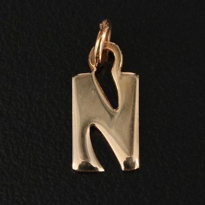 """14K """"N"""" Initial Pendant"""