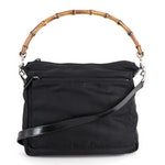 Gucci Bamboo Handle Two-Way Bag in Black Nylon and Leather