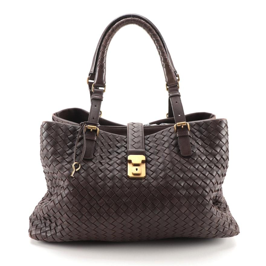 Bottega Veneta Intrecciato Shoulder Bag in Brown Leather