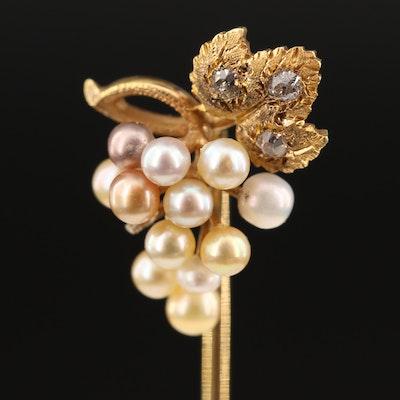 Art Nouveau 14K Pearl and Diamond Grape Cluster Stick Pin