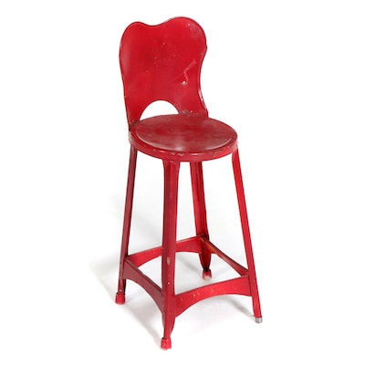 Red Painted Metal Child's Stool, Mid-20th Century