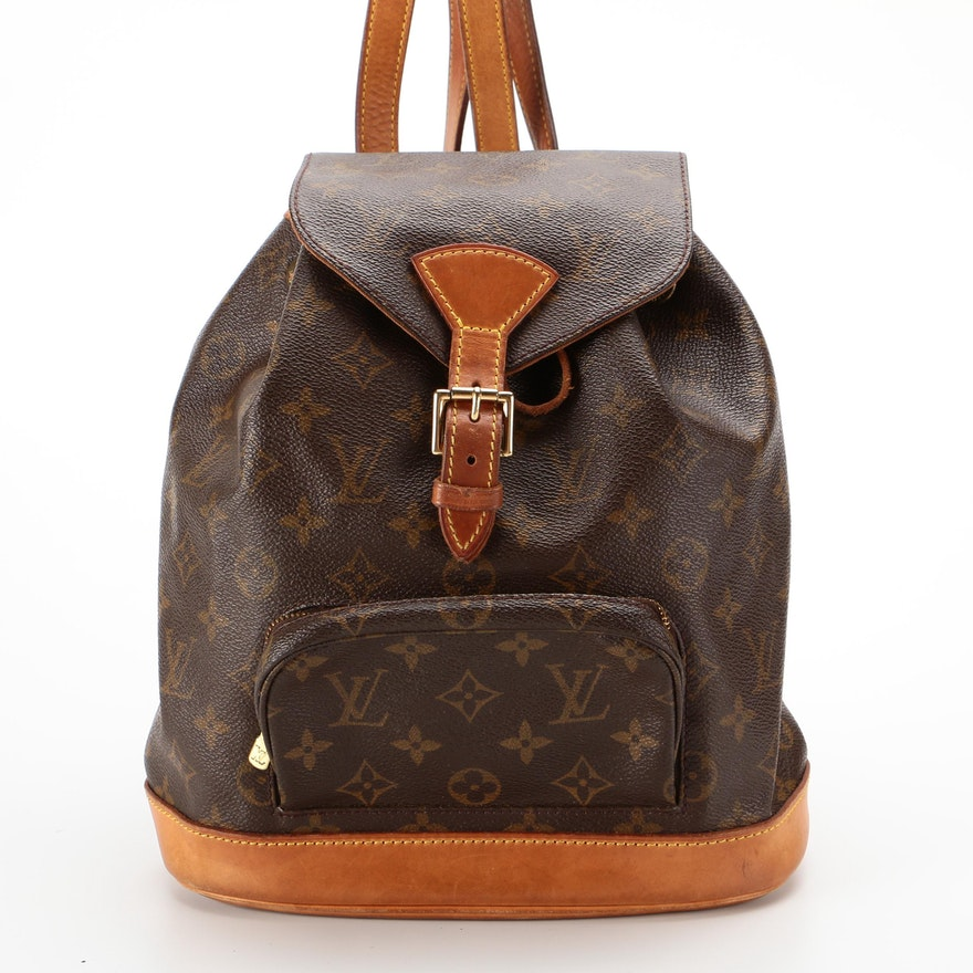 Louis Vuitton Montsouris MM Backpack Purse in Monogram Canvas and Leather