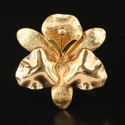Vintage De Rejilus 18K Orchid Brooch