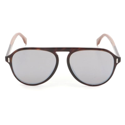Fendi FF M0055/G/S Browline Sunglasses in Dark Havana Acetate with Case