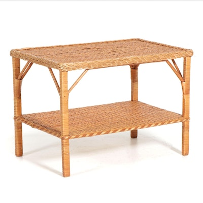 Two-Tier Wicker Side Table, Late 20th Century
