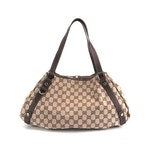 Gucci GG Canvas and Brown Leather Shoulder Bag