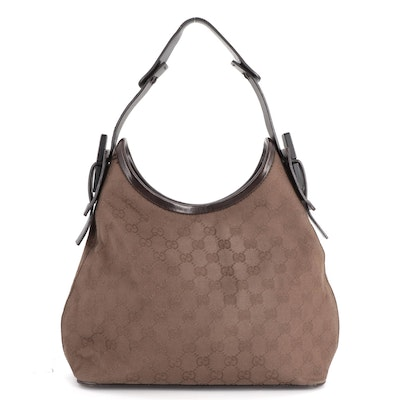 Gucci GG Brown Canvas and Brown Leather Hobo Bag