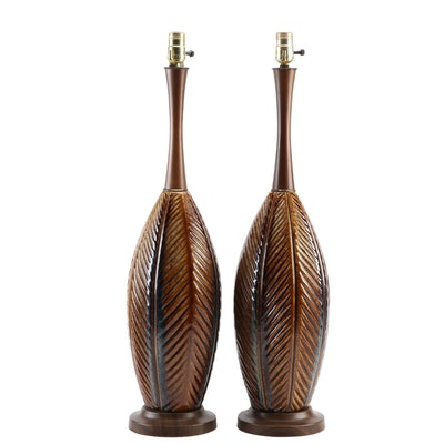 Mid Century Modern Palm Leaf Ceramic Table Lamps, Mid to Late 20th Century