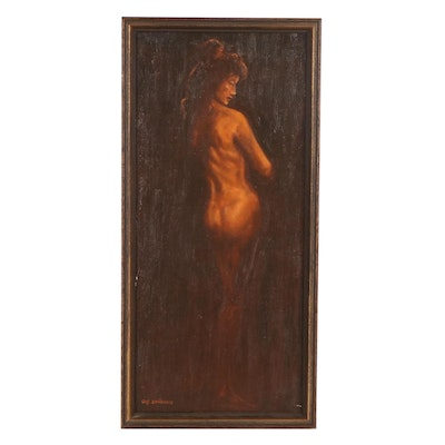 Gus Bowman Female Nude Oil Painting