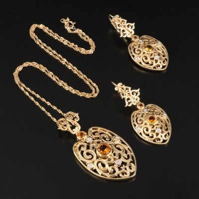Sterling Silver Citrine and Diamond Openwork Pendant Necklace and Earring Set