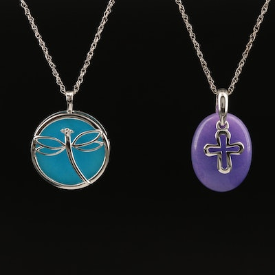 Sterling Cross and Butterfly Pendant Necklaces Including Quartzite and Diamond