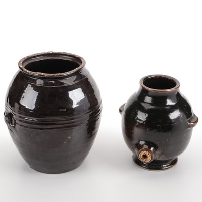French Les Cyclades Anduze Stoneware Jug with Earthenware Jar