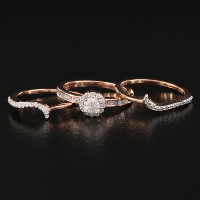 Sterling Silver Diamond Halo Ring with Enhancer Bands