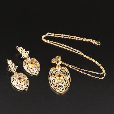 Sterling Silver Citrine and Diamond Openwork Necklace and Earring Set