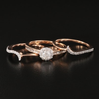 Sterling Silver Diamond Halo Ring with Shadow Bands