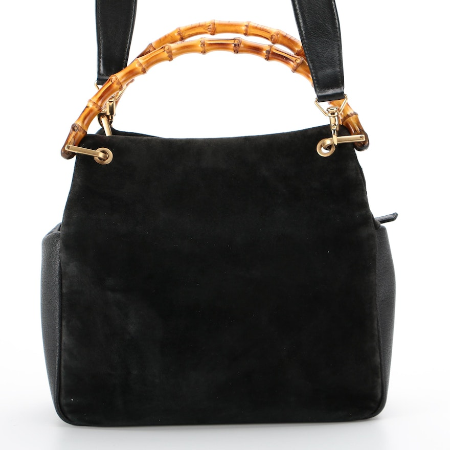 Gucci Bamboo Black Suede and Leather Two-Way Bag